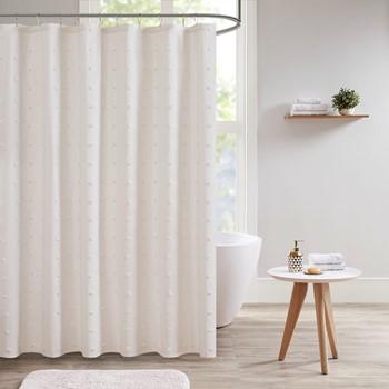 Brooklyn Cotton Yarn Dyed Jacquard Pom Shower Curtain
