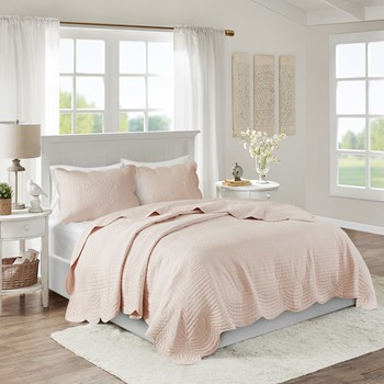 Tuscany 3 Piece Reversible Scalloped Edge Coverlet Set