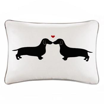 L'amour Kissing Dog Appliqued Cotton Oblong Pillow
