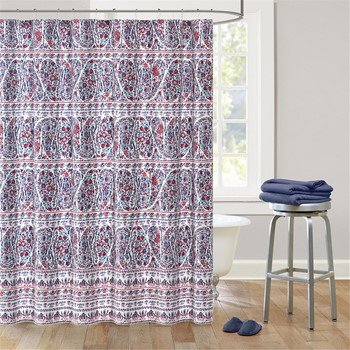 Woodstock Cotton Printed Shower Curtain