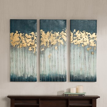 midnight forest gel coat canvas with gold foil embellishment - Wall Art Designer