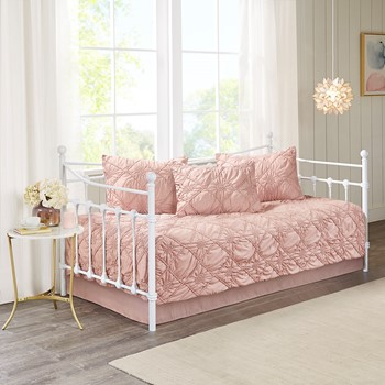 Theresa 5 Piece Ruched Rosette Reversible Daybed Cover Set