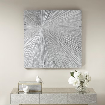 Sunburst Silver Resin Dimensional Palm Box