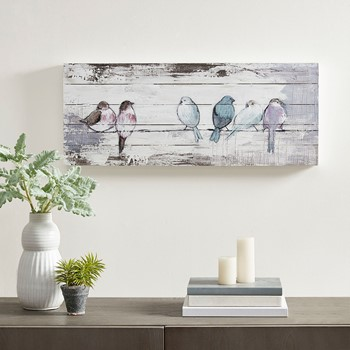 Perched Birds Hand Painted Wood Plank