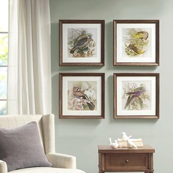 Pretty Bird Double Mat Framed Graphic 4 Piece Set