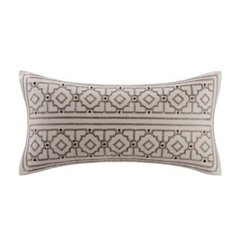 Odyssey Oblong Pillow with Embroidery and metallic Buttons