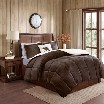 Alton Plush to Sherpa Down Alternative Comforter Set