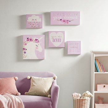 Lavender Dream Printed Canvas with Gold Glitter 5 Piece Set