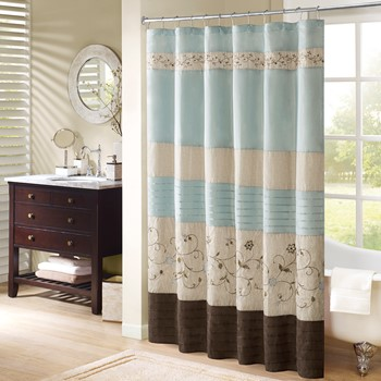 serene embroidered shower curtain - Bathroom Designs With Shower Curtains