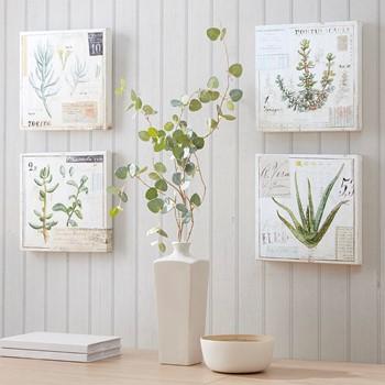 Botanical Terrace Printed Linen Square Canvas 4 Piece Set