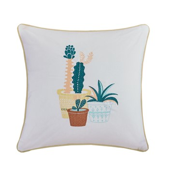 Green Thumb Succulent Embroidered Cotton Square Pillow