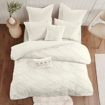 Talia 7 Piece Elastic Embroidered Chambray Duvet Set