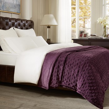 Victoria Textured Plush Bedsize Throw