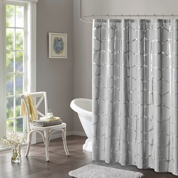 Raina Printed Metallic Shower Curtain