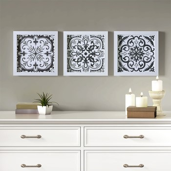 Black and White Tiles 3 Piece Deco Box Wall Art Gel Coating