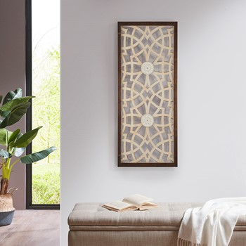 Damask Wood Panel Carved Wall Panel