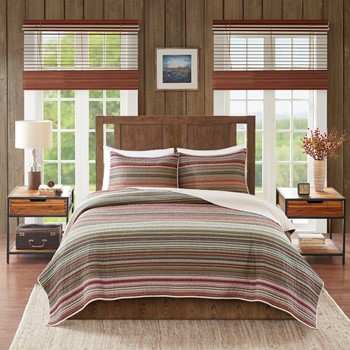 Willard Oversized Stripe Print Cotton Quilt Set