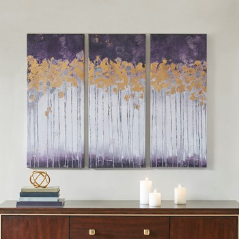 Midnight Forest Violet Gel Coat Canvas with Gold Foil Embellishment 3 Piece Set