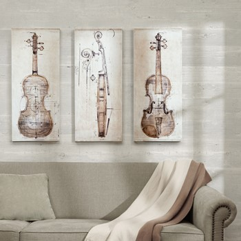 Violin Study set Printed Canvas With Hand Embellishment 3 Piece Set