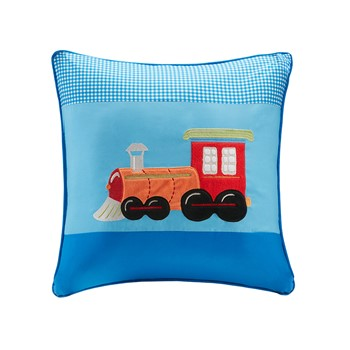 Totally Transit Plush Train Applique and Printed Square Pillow