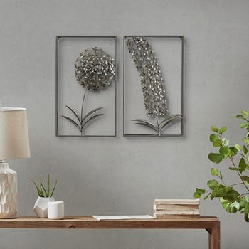 Metal Garden Botanical Metal Wall Decor 2 Piece Set