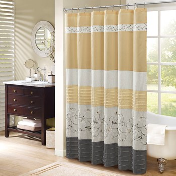 Serene Embroidered Shower Curtain