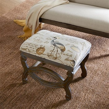 Candice Exposed Wood Ottoman
