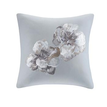 Casa Nouveau Embroidered Cotton Square Decorative Pillow