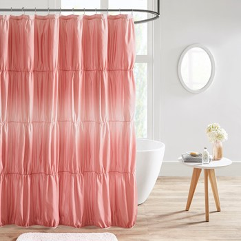 Ellen Ruched Ombre Printed Shower Curtain