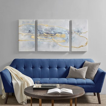 Blue Cosmo 3 Piece Canvas Set Hand Embellished Textured Glitter And Gold Foil