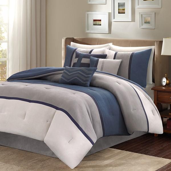 71f18f5602e1 Palisades 7 Piece Faux Suede Comforter Set By Madison Park - Designer Living