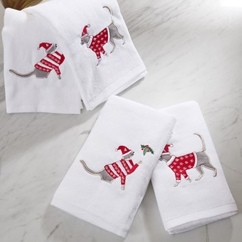 Holiday Cat 4 Piece Embroidered Towel Set
