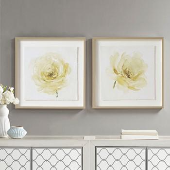 Ivory Ladies Rose Glass Framed Rose Graphic Single Floating Mat 2 Piece Set