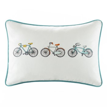 Cruz Bicycle Embroidered Cotton Oblong Pillow