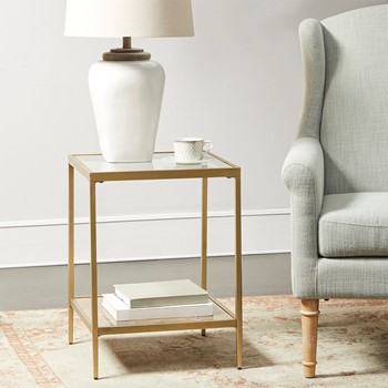Marisol Glass Top Square Accent Table
