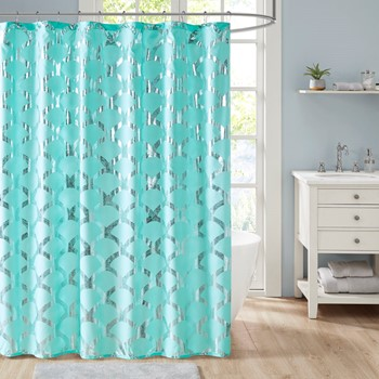 Lorna Metallic Scallop Shower Curtain