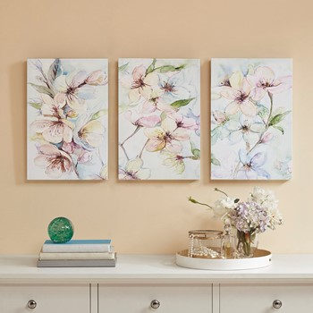 Nectar Florals  Hand Embellished Canvas 3 Piece Set