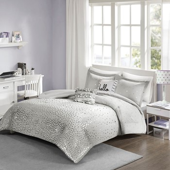Zoey Metallic Triangle Print Comforter Set