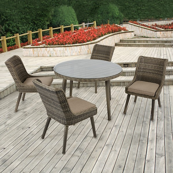 Madison Park Westin Outdoor Round Table with 4-Chair (Grey/Sand)