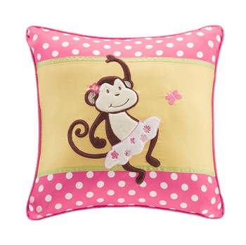 Monkey Business Plush Monkey Applique and Printed Square Pillow