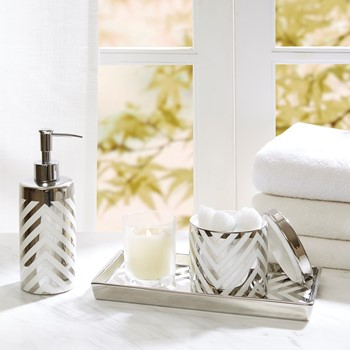 Silver Chevron 3 Piece Ceramic Bath Accessory Set