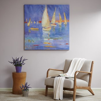 Sailing in Color Hand Embellished Canvas