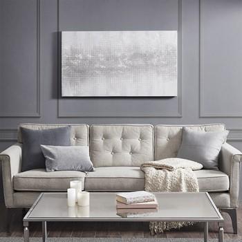 Silver Trellis Heavy Textured Canvas with Glitter Embellishment