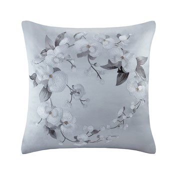 White Orchid Silk/Cotton Embroidery Euro Sham