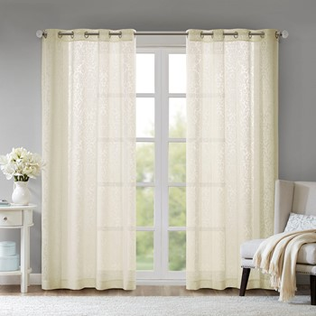 Edwin Damask Burnout Sheer Grommet Window Curtain