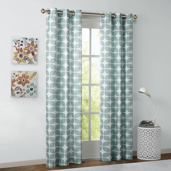 Lita Geometric Grommet Top Window Curtain Pair