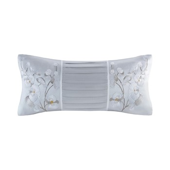 White Orchid Silk/Cotton Embroidery Oblong Pillow