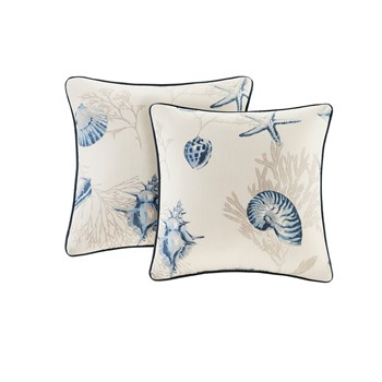 Bayside Cotton printed Square Pillow Pair with Solid Reverse