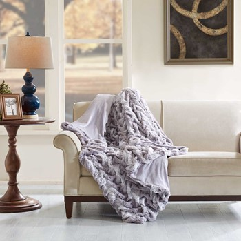 Ruched Faux Tip Dyed Fur Oversized Throw
